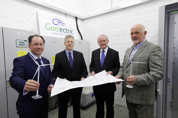 Pictured at the Carn Hill wind farm's sub station this morning were Barry Gavin, finance director, Gaelectric; Northern Ireland First Minister Peter Robinson; deputy First Minister Martin McGuinness; and Brendan McGrath, CEO, Gaelectric