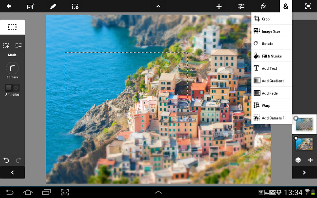 Adobe Photoshop Touch on Samsung Galaxy Note 10.1