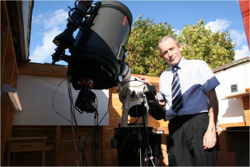 Dave Grennan pictured in his observatory in Raheny in north Dublin