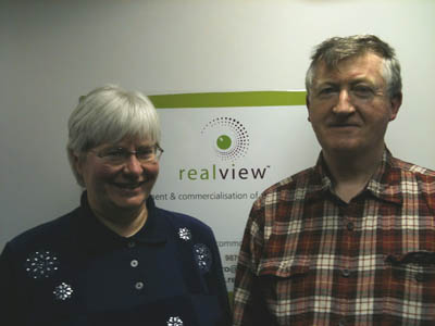 Catherine Overhauser and Eamonn Ansbro, executive directors, Realview Innovations, which has developed disruptive 3D V-Screen for Sony PSP