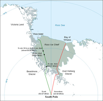 Routes to Antarctica during the Terra Nova 1911-1912 expedition