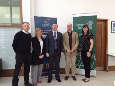 Pictured, from left: Cian Hughes, head of operations, ITLG; Ann Horan, CEO, DCU Ryan Academy; Paul Leonard, researcher at Biomedical Diagnostics Institute; Kevin Koidl, a researcher at the Centre for Next Generation Localisation; and Janice Murtagh of Science Foundation Ireland