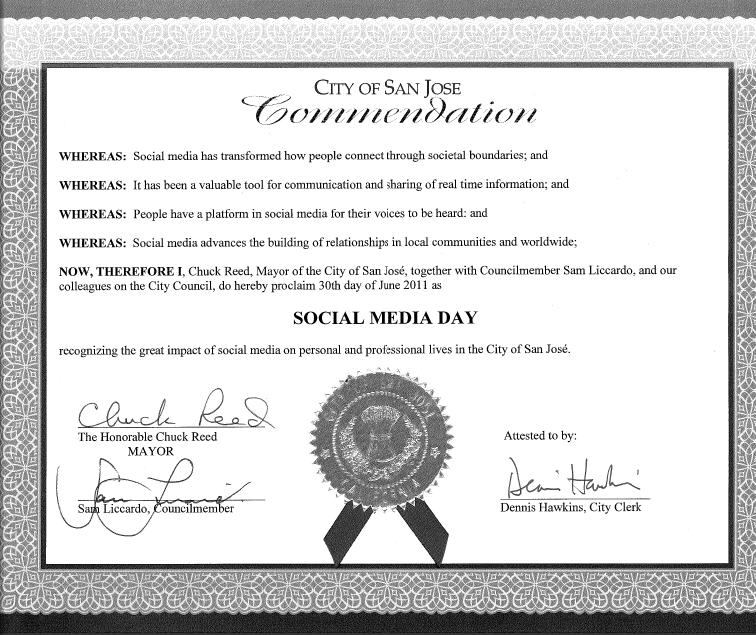 Social Media Day proclamation, San Jose