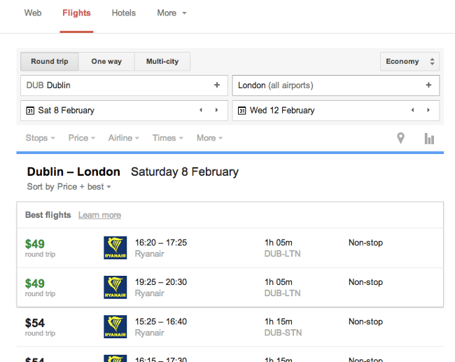 Google Flight Search with results from Ryanair