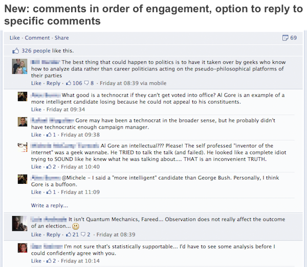 Facebook comments layout