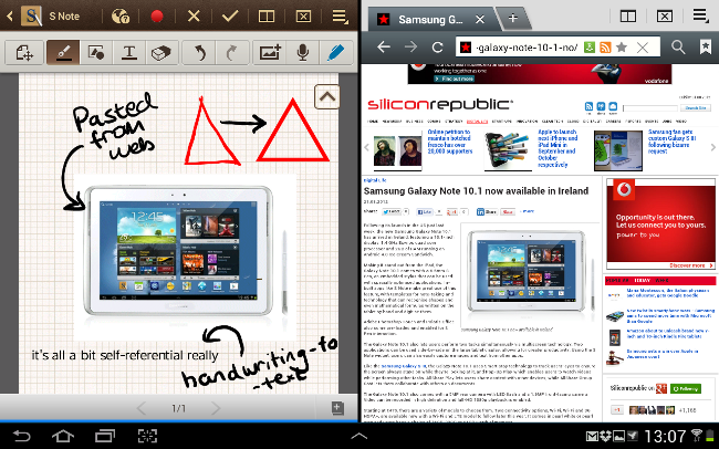 Multi-tasking on Samsung Galaxy Note 10.1