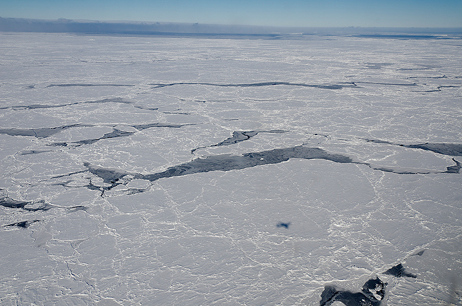 The ice covering the Bellingshausen Sea, off the coast of Antarctica, as seen from a NASA Operation IceBridge flight in October 2012. Credit: NASA/Michael Studinger