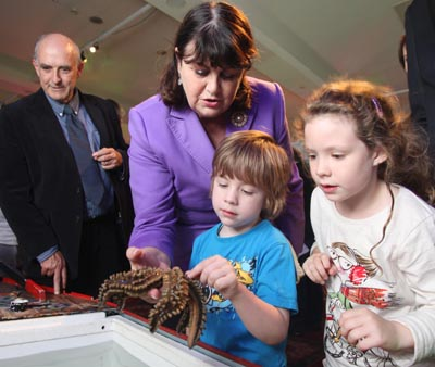 Máire Geoghegan-Quinn, the European Commissioner for Research, Innovation and Science, engages with young visitors at Sea2Sky on 28 September last in Galway. Also pictured is NUI Galway's Dr Andy Shearer