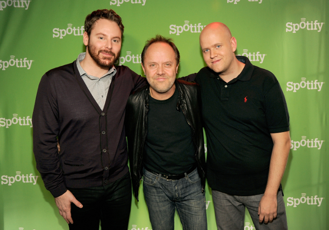 Sean Parker, Lars Ulrich and Daniel Ek, Spotify announcement (image by Kevin Mazur)