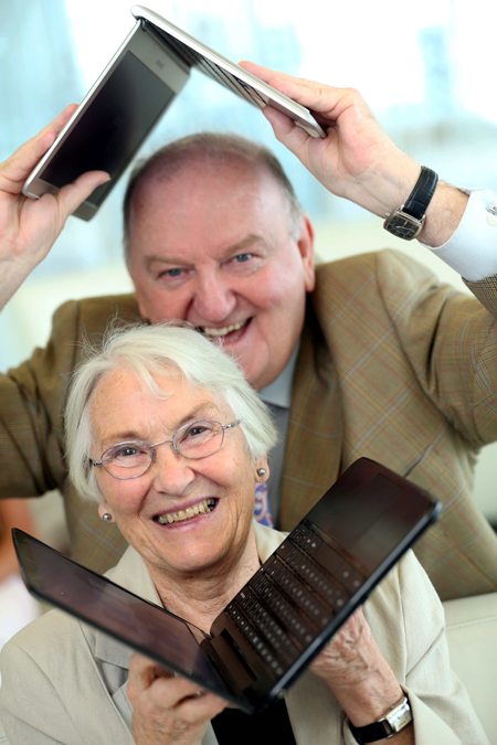 Pictured with Irish broadcaster George Hook is silver surfer Dorothy Harrington (78), from Sandymount, Co Dublin
