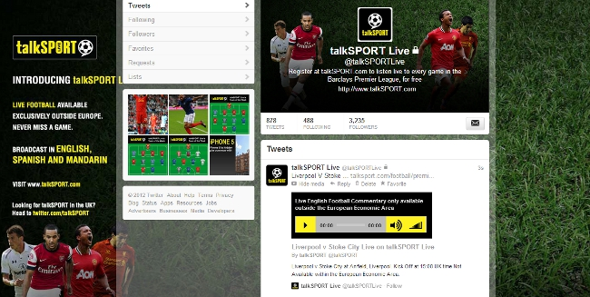 talkSPORT Live embedded audio player on Twitter
