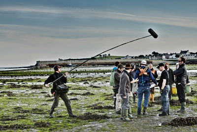 Some of the film crew pictured on location in Coney Island, Co Down