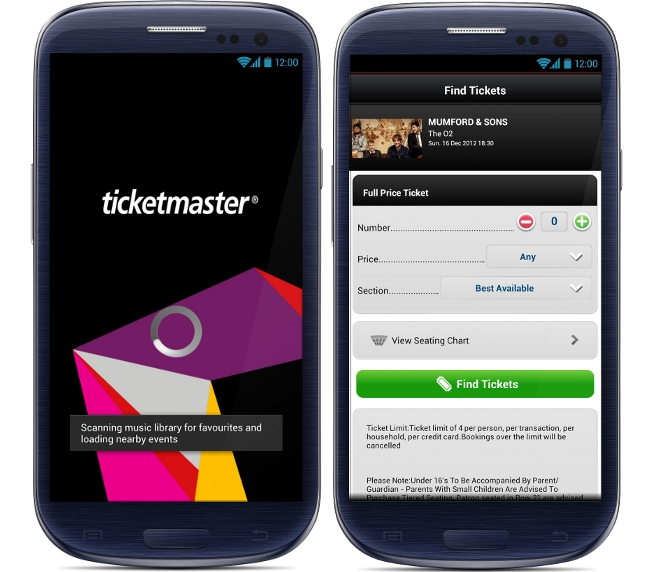 Ticketmaster Ireland app Android