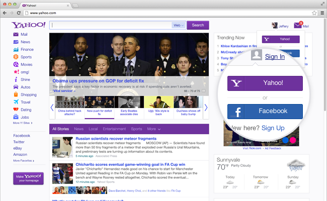 Users will be able to sign in with their Yahoo! or Facebook ID to view more personally relevant content in their newsfeed