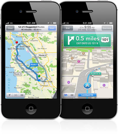 Turn-by-turn navigation on the upcoming Apple Maps service