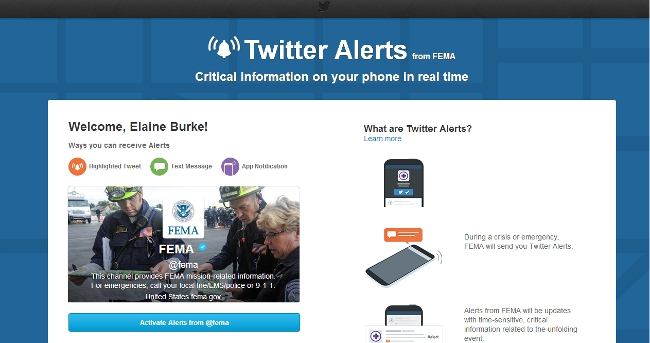Twitter Alerts sign-up - FEMA