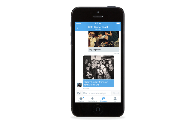 Direct messages with photos on Twitter for Mobile