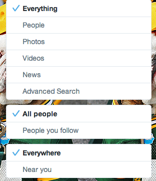 Twitter.com search filters update