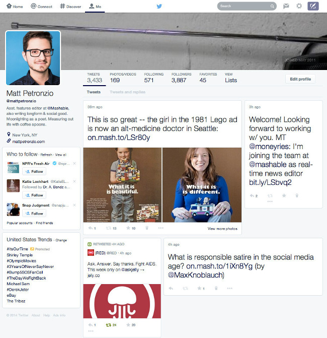 Twitter's Facebook-like layout (via Mashable)