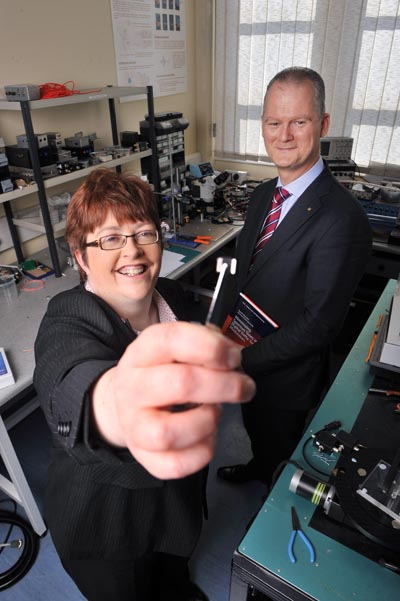 Anita Maguire, vice-president of Research and Innovation, University College Cork (UCC), pictured with Professor Peter O'Keeffe of Tyndall National Institute who won the ICT Invention of the Year award at UCC's Invention of the Year awards