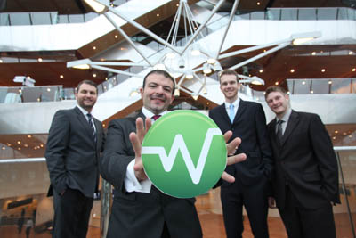 Members of the Wattics team. Pictured, from left:  Seamus Porter, sales director, Dr Antonio Ruzzelli, CEO, Anthony Schoofs, CTO and Alex Sintoni, head of engineering
