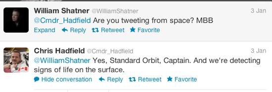 William Shatner Chris Greenfield Tweets