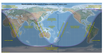 World visibility map for 5-6 June 2012 for Venus transit. Image credit: NASA / M. Zeiler