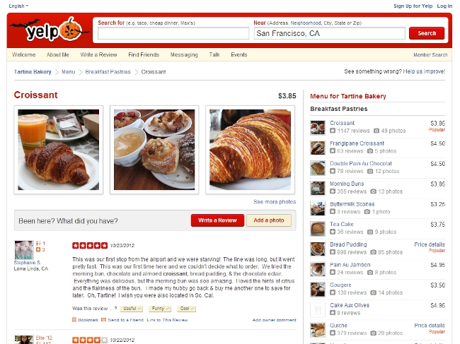 Yelp menu screenshot