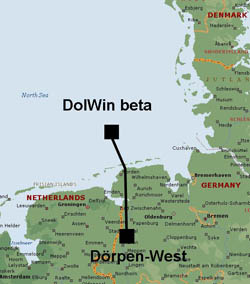 Map of Dol Win2 North Sea HVDC light transmission from ABB