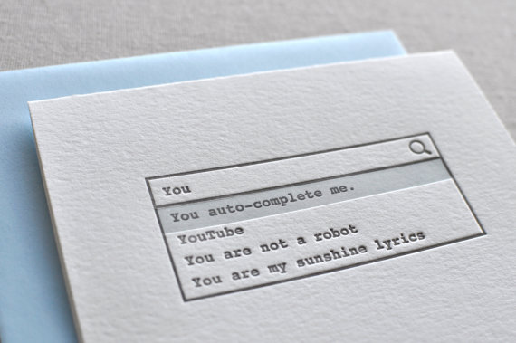 Techie Valentine's Day cards on Etsy