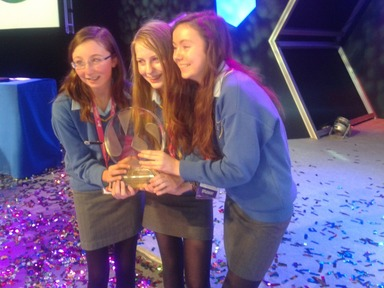 Cork students Ciara Judge, Emer Hickey and Sophie Healy-Thow, the overall winners of the 2013 BT Young Scientist and Technologists of the yea