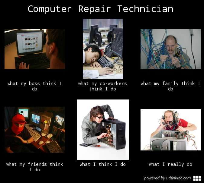 Computer repair technician meme