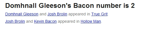 Domhnall Gleeson's Bacon number