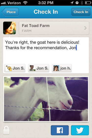 Foursquare with Facebook mention tagging