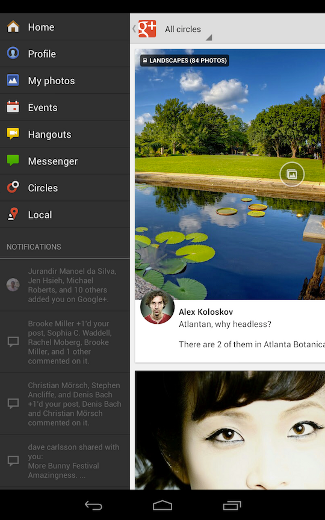 Google+ for tablets screen shot