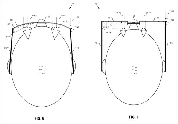 Diagrams from the patent filing, which look similar to the current Google Glass device