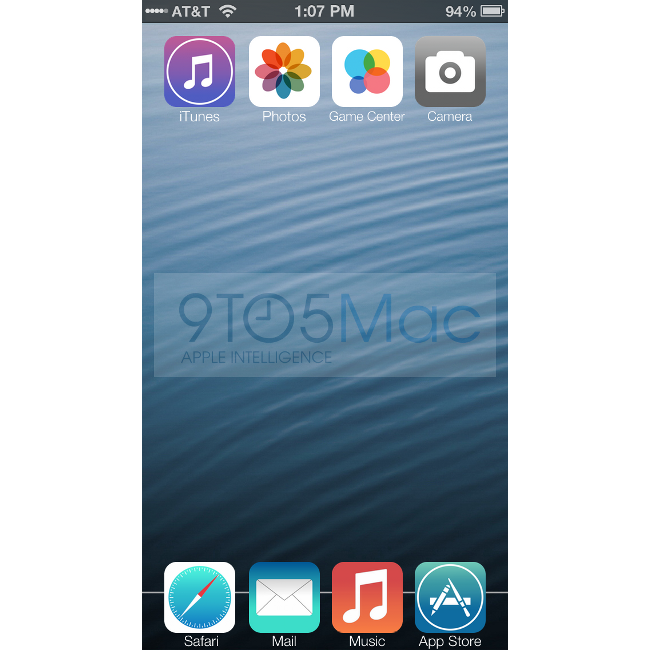 iOS 7 home screen mock-up by 9to5Mac