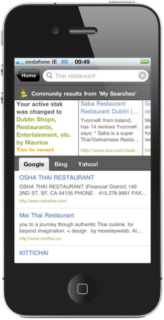 HeyStaks social search results, appearing on the iPhone 4 screen