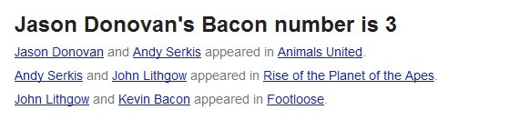Jason Donovan's Bacon number