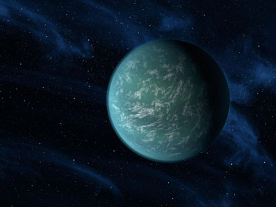Kepler 22-b a new planet discovered by NASA on 5 December 2011. This planet could potentially host humans