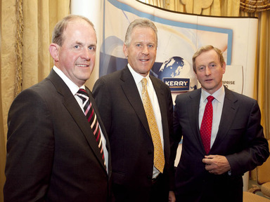 Frank Ryan, chief executive, Enterprise Ireland; Stan McCarthy, CEO Kerry Group; and Taoiseach Enda Kenny, TD