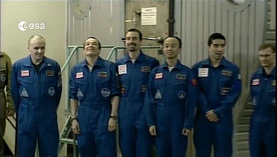 The Mars500 crew after the hatch was opened