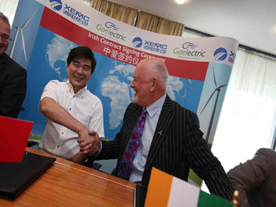 Zhou Jianxiong, XEMC Group chairman, and Brendan McGrath, CEO, Gaelectric, at this morning's announcement in Dublin that the two companies are to partner to develop three new wind farms in Ireland, as well as completing Gaelectric's wind-farm portfolio in the US. Gaelectric and XEMC are also in talks about offshore wind technologies