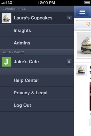 Facebook Pages Manager app screenshot - Sidebar