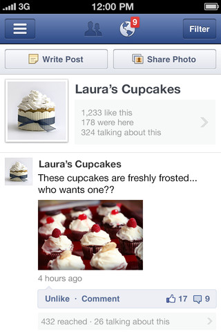Facebook Pages Manager app screenshot