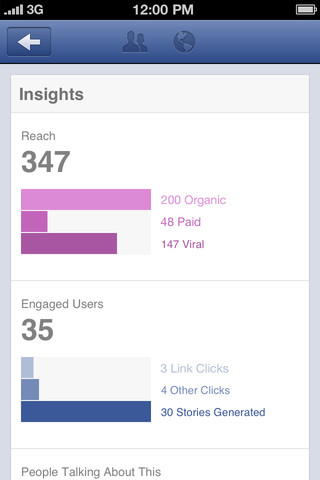 Facebook Pages Manager app screenshot - Insights