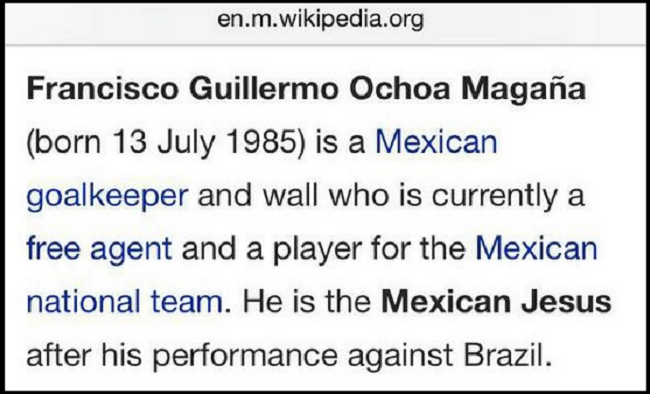 Ochoa Wiki page after World Cup