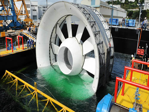 An OpenHydro 16m tidal turbine before being deployed off the coast of Brittany, France, in 2011