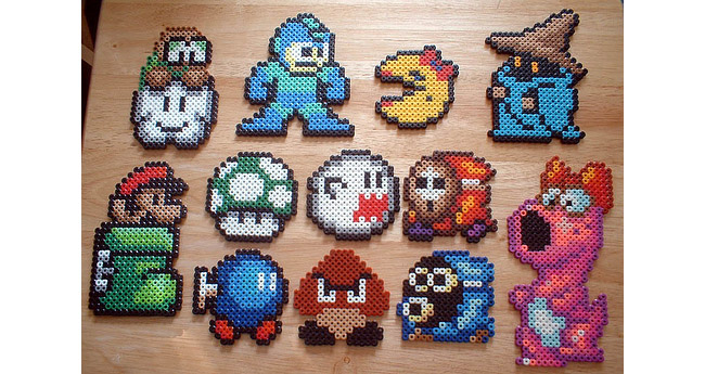Perler bead ornaments by Scotty Hampton