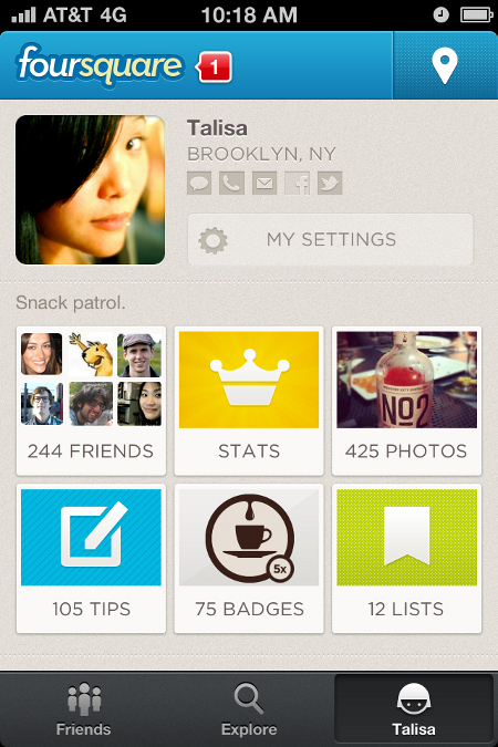 Foursquare profile